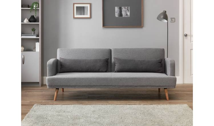 Buy Habitat Andy 3 Seater Fabric Clic Clac Sofa Bed Grey | Sofa beds | Argos