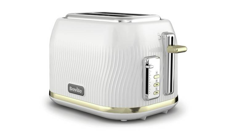 Breville VTT995 Flow 2 Slice Toaster - White & Gold