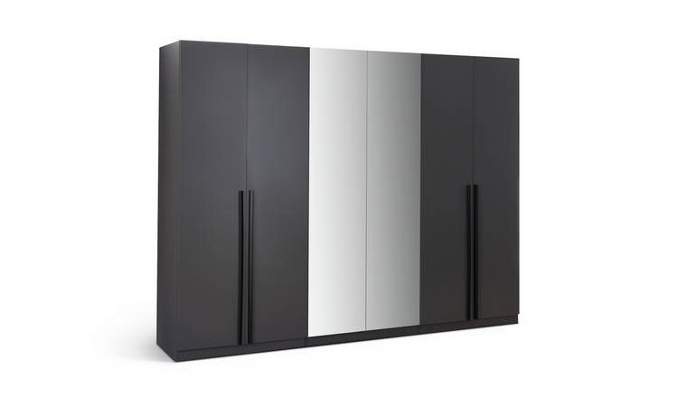 Habitat Munich 6 Door 2 Mirror Wardrobe - Anthracite