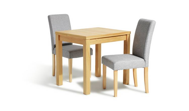 Habitat Clifton Extending Table & 2 Tweed Chairs - Grey
