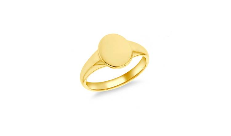 9ct Gold Plated Personalised Oval Signet Ring - N