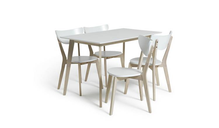 Habitat Harlow Dining Table & 4 Chairs - White