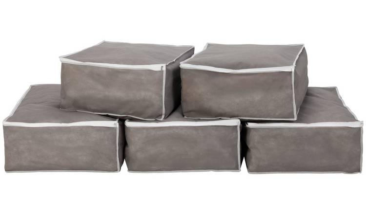 Argos Home Pack of 5 Bumper Value Blanket Bags - Grey