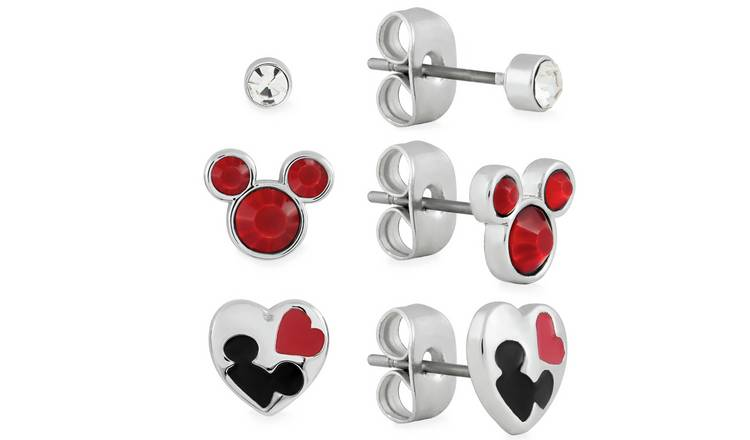 Disney Mickey Mouse Head Stud Earrings - Set of 3