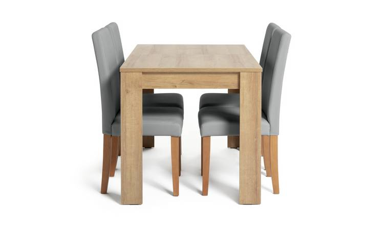 Habitat Miami Oak Effect Extending Table & 4 Grey Chairs