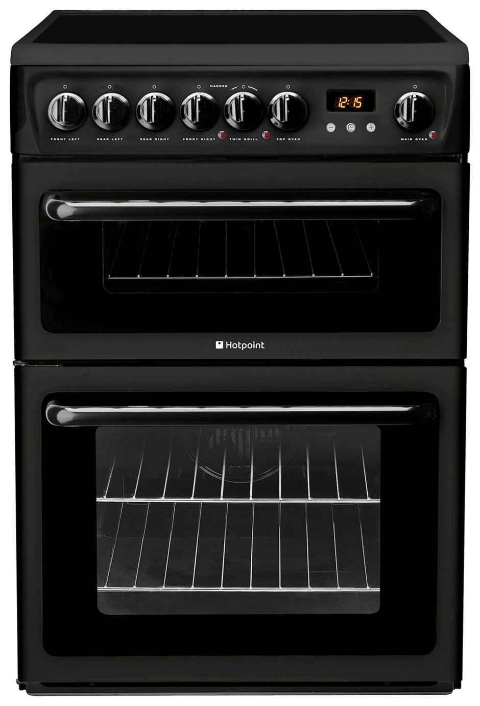 Hotpoint HAE60K 60cm Double Oven Electric Cooker - Black Best Price, Cheapest Prices