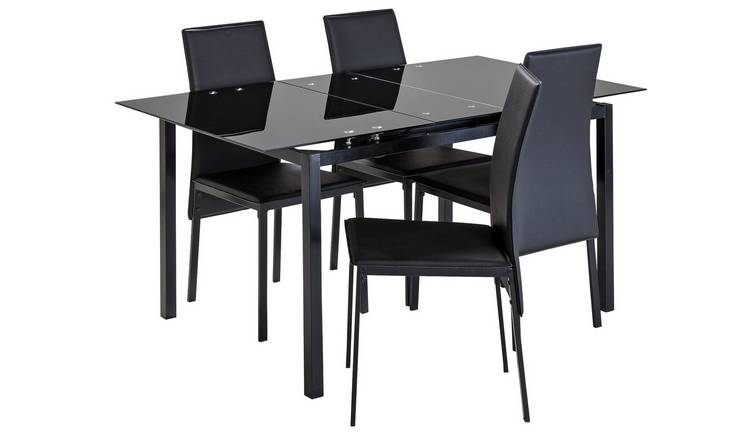 Argos Home Lido Glass Extending Table & 4 Black Chairs