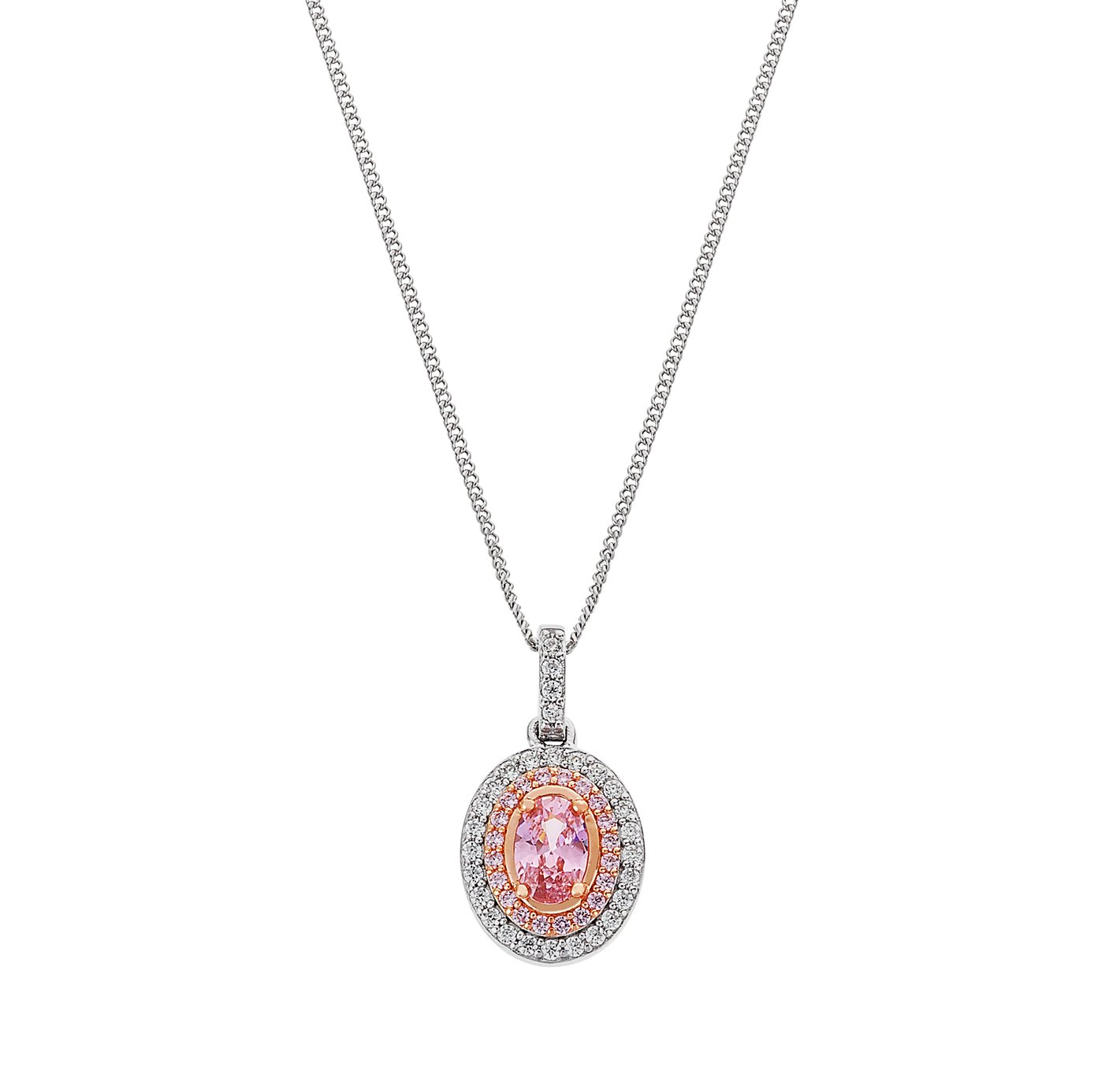 Revere Silver and Rose Gold Plated White and Pink CZ Pendant