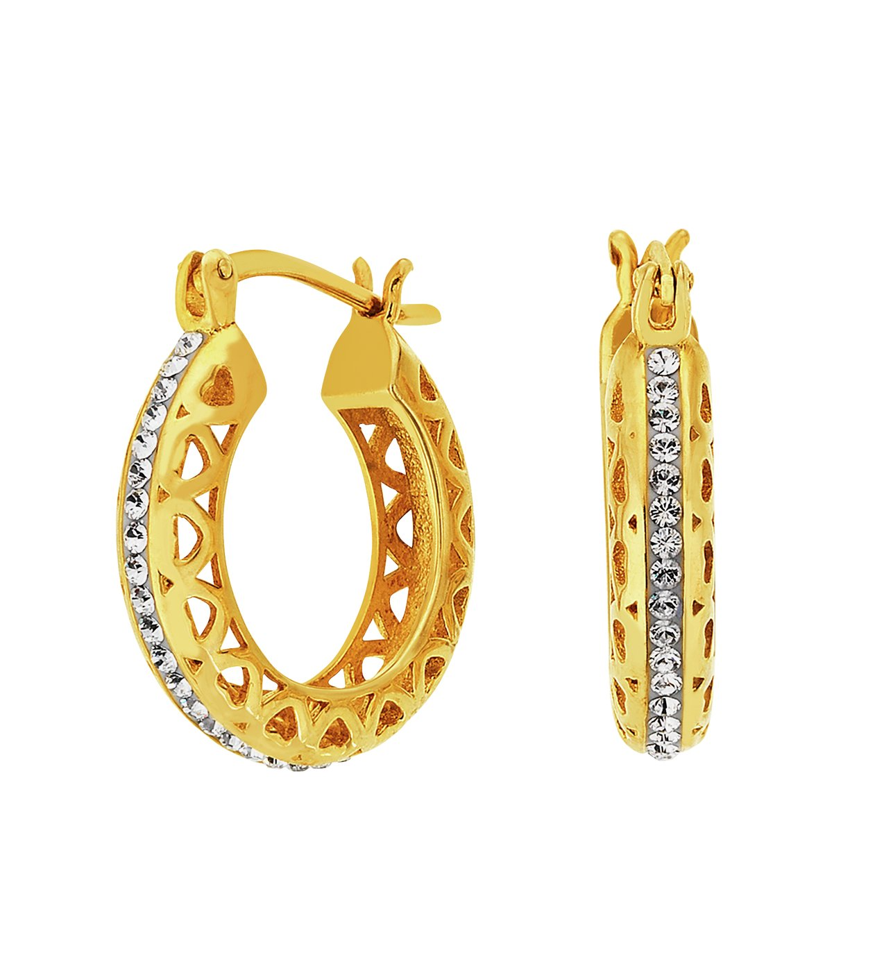 Evoke 9ct Gold Plated Silver Cut Out Edge Crystal Creoles