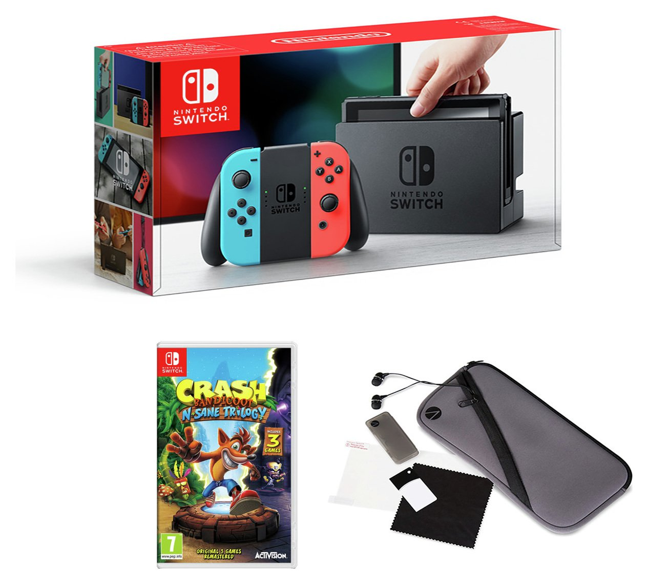 Nintendo Switch Console Neon, Crash Bandicoot & Acc Pack