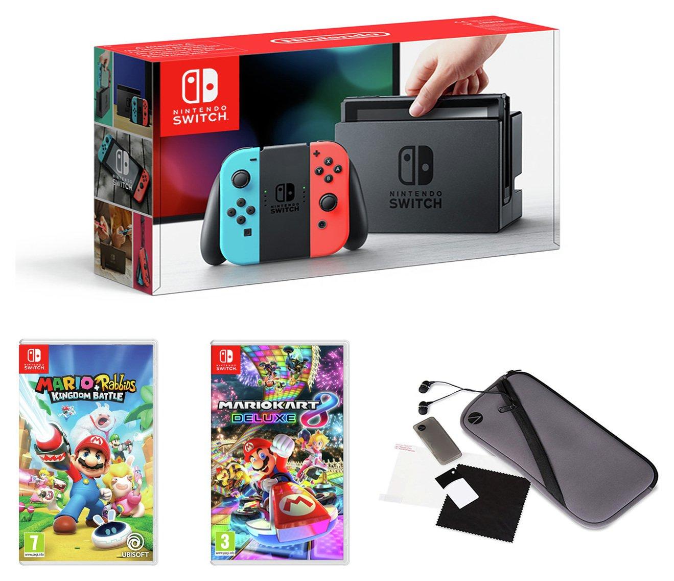 Nintendo Switch Neon Console w/ MK 8, Mario + RKB,  acc pack