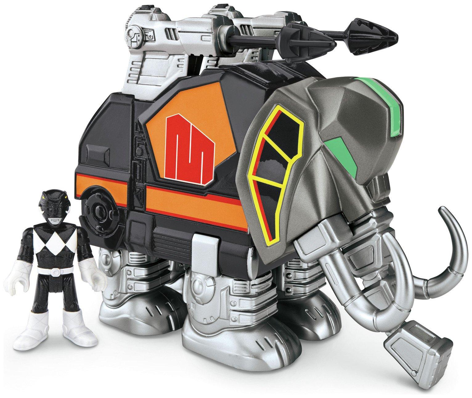 Image of Imaginext Power Rangers Black Ranger and Mastodon