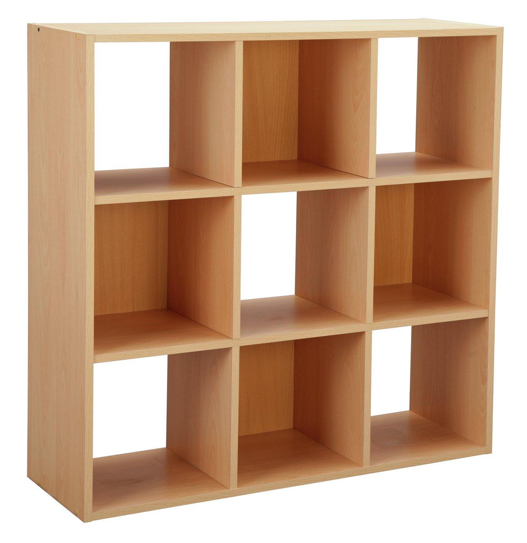 HOME Squares 9 Cube Storage Unit - Beech Effect
