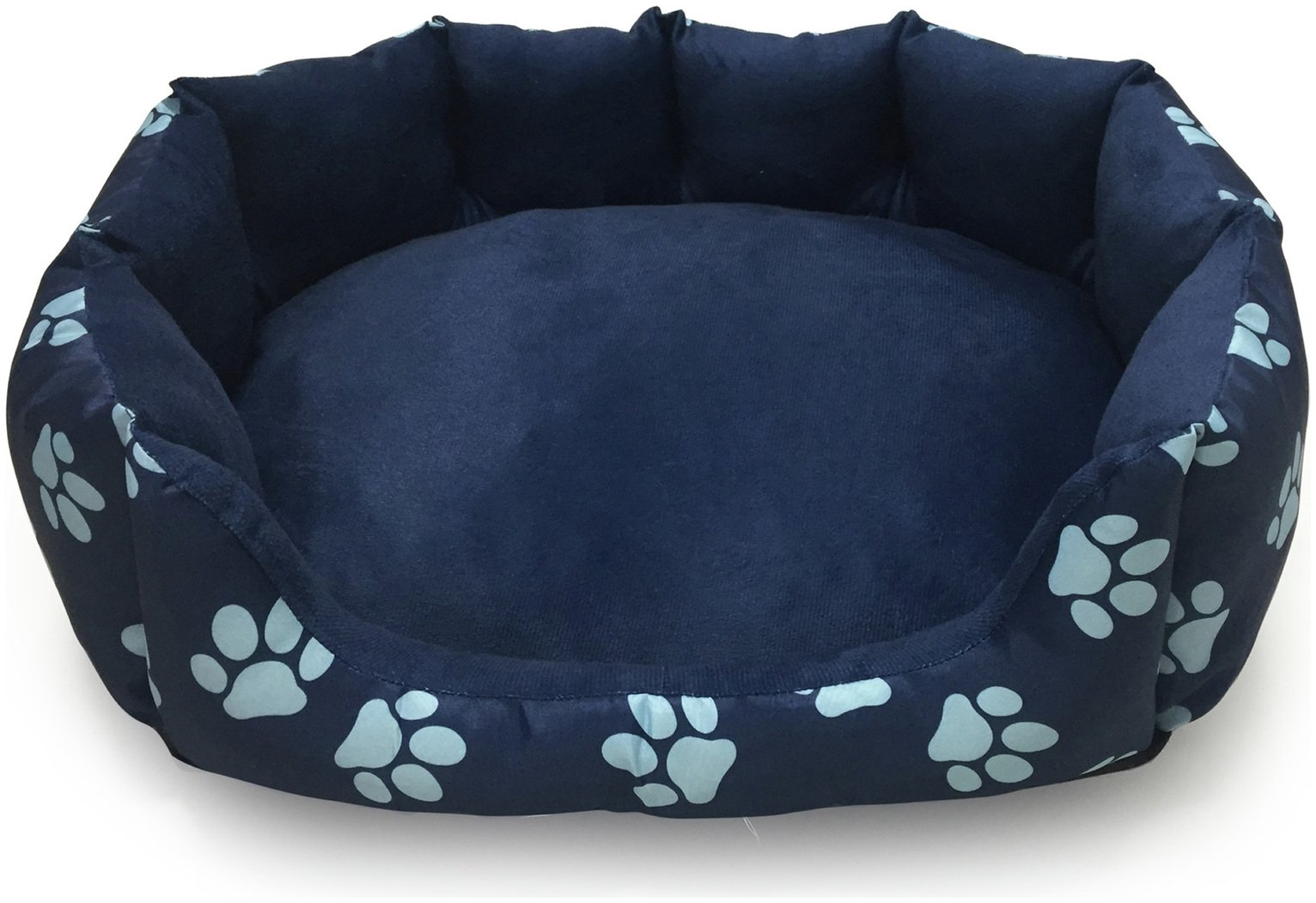 Paw Print Oval Navy Pet Bed - Medium