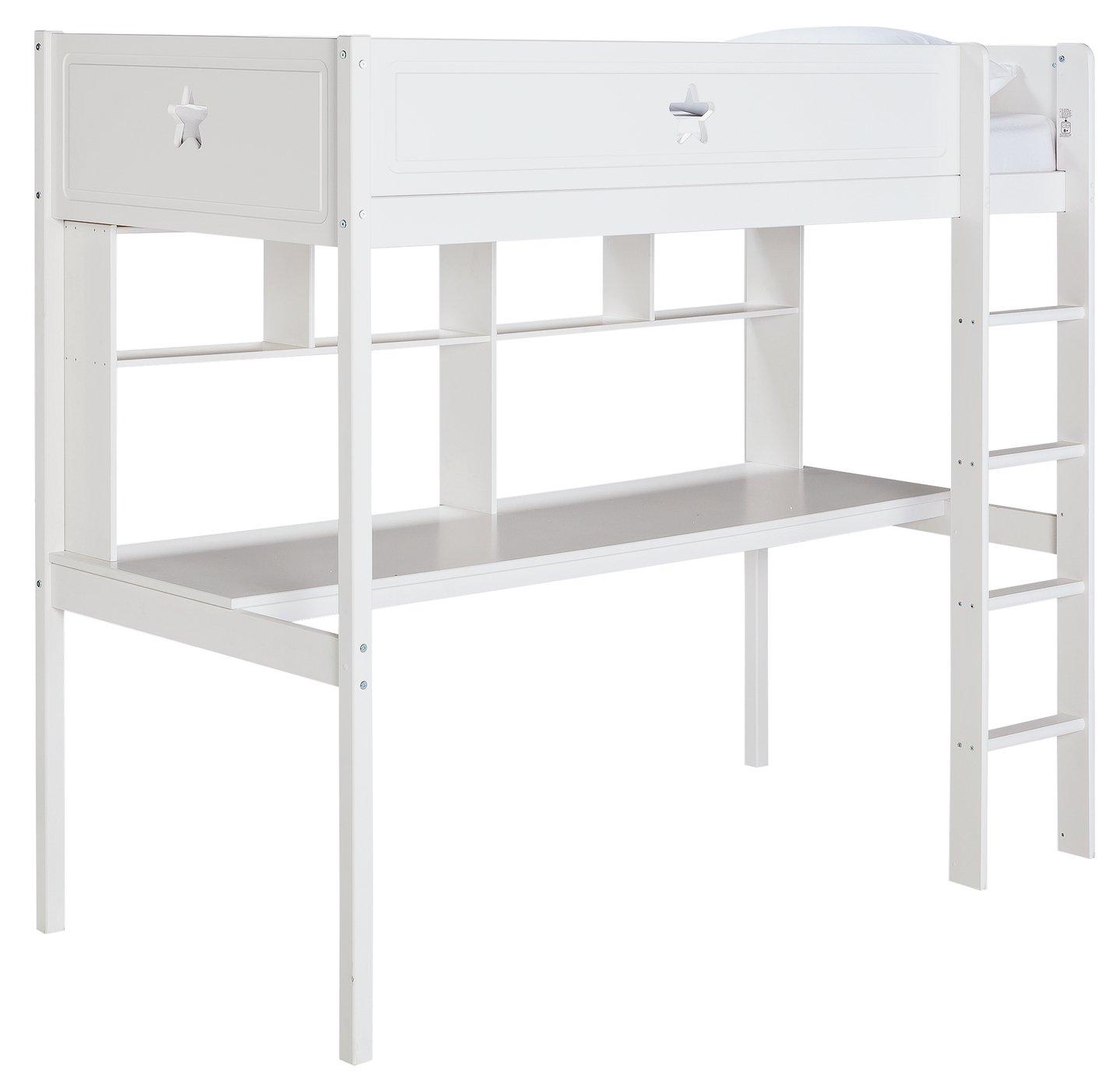 Argos Home Stars High Sleeper Bed, Desk, Shelf & Mattress