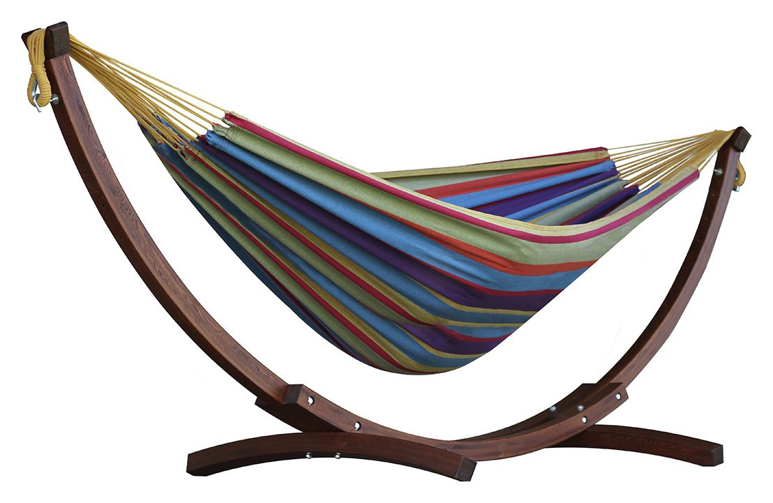 Vivere Double Cotton Hammock With Wooden Stand - Tropical