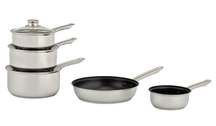 Argos Home 5 Piece Stainless Steel Pan Set