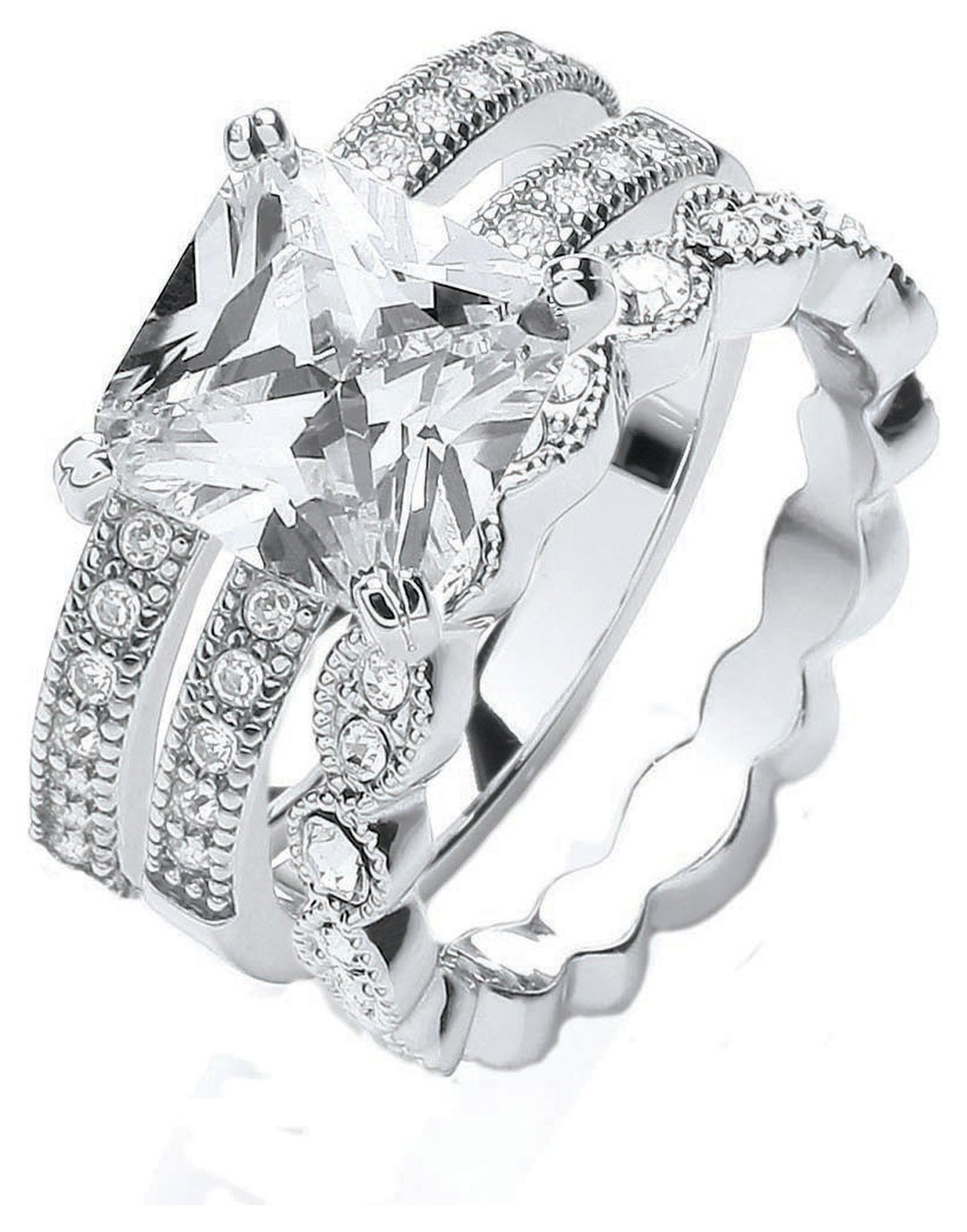 Buckley Silver Colour Vintage Style CZ Trilogy Ring - Large