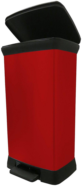 Curver 50 Litre Deco Pedal Bin - Red