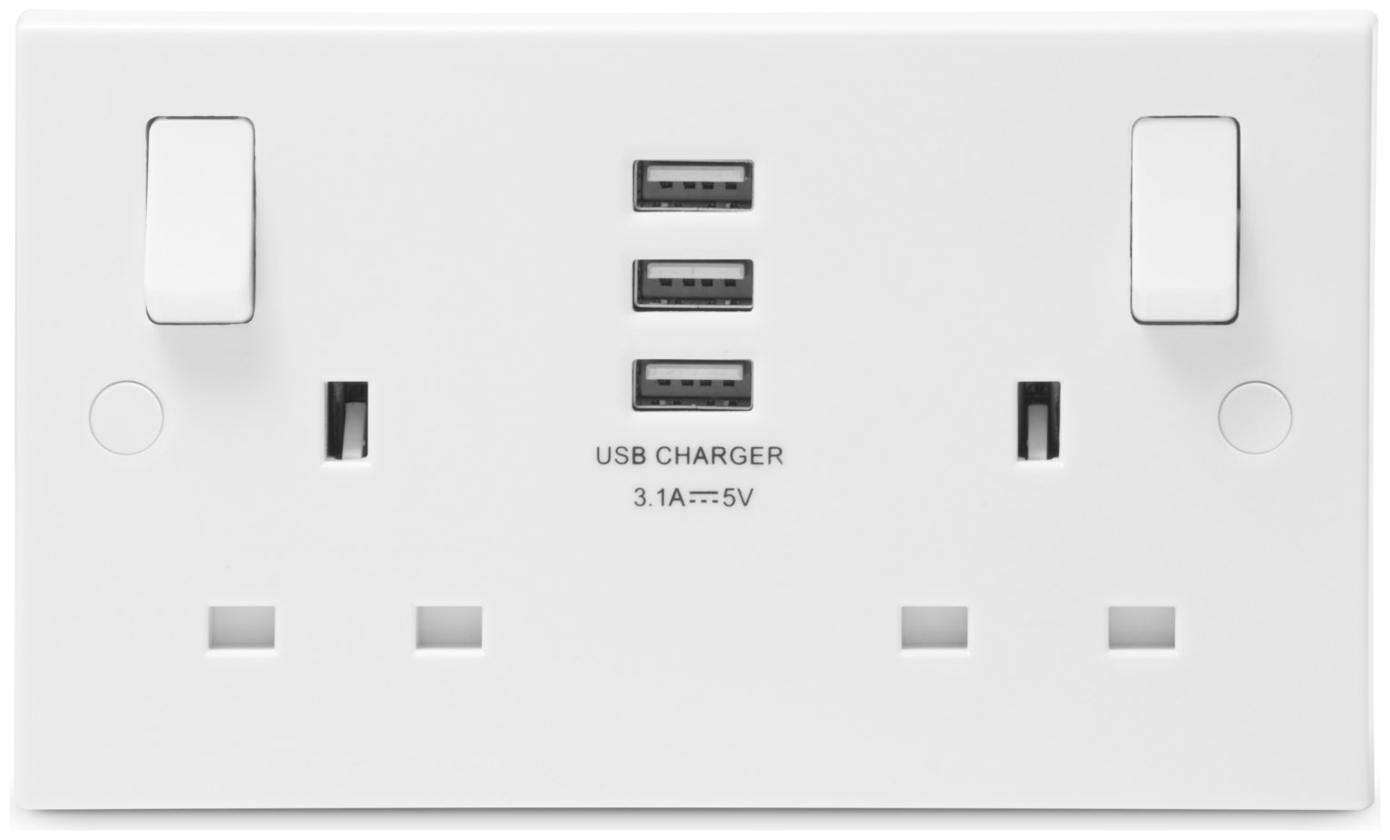 BG Nexus 2 Gang Sockets with 3 X USB 3.1 Sockets - White