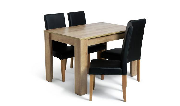 Habitat Miami Oak Effect Extending Table & 4 Black Chairs