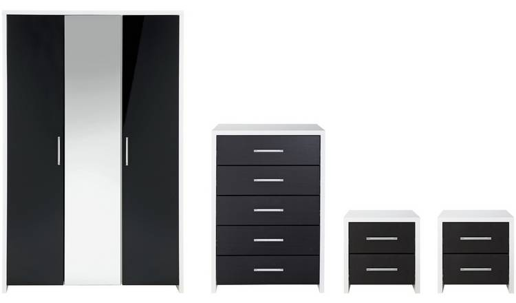 Habitat Broadway Gloss 4 Piece Wardrobe Set -Black/ White