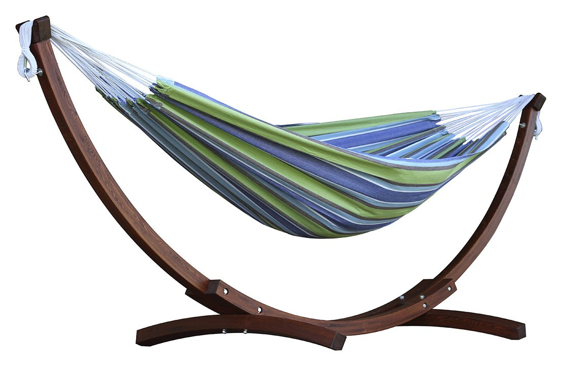 Vivere Double Cotton Hammock With Wooden Stand - Oasis