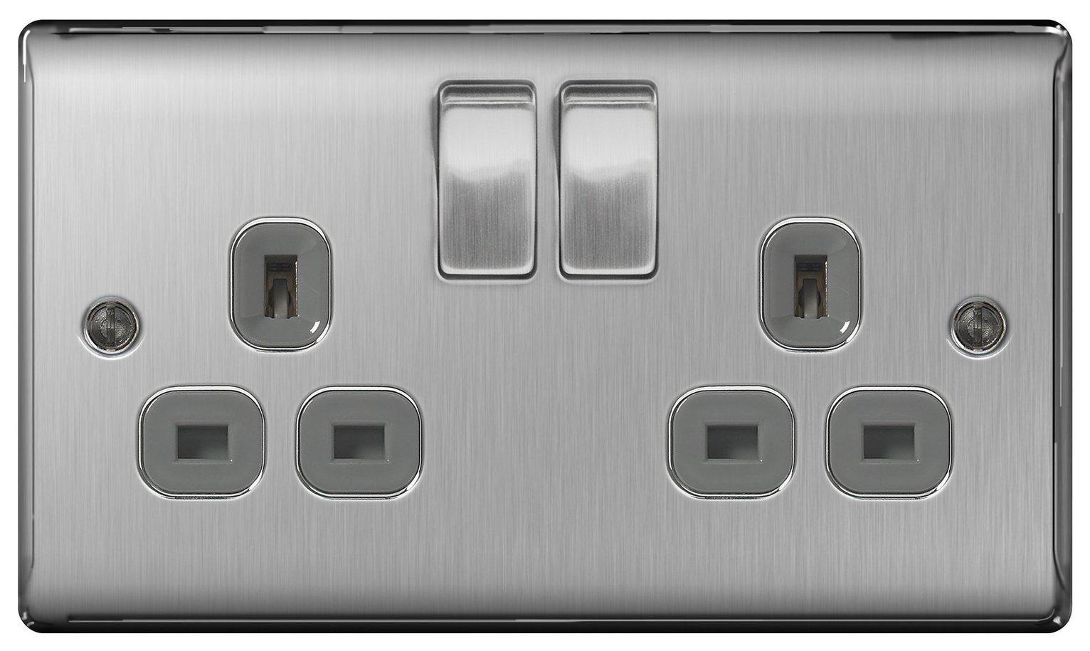 BG 2 Gang Sockets - Brushed Stainless Steel