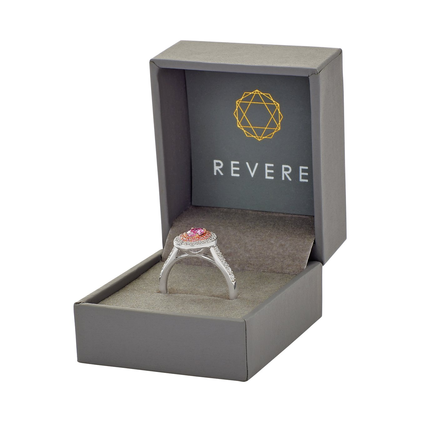 Revere Silver and Rose Gold Plated White and Pink Ring