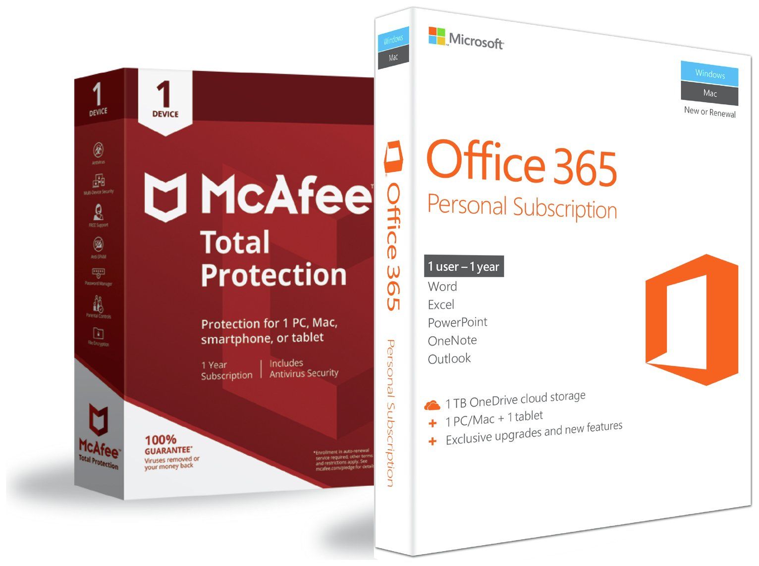 Microsoft Office 365 Personal, Mcafee TP 1 Year 1 User