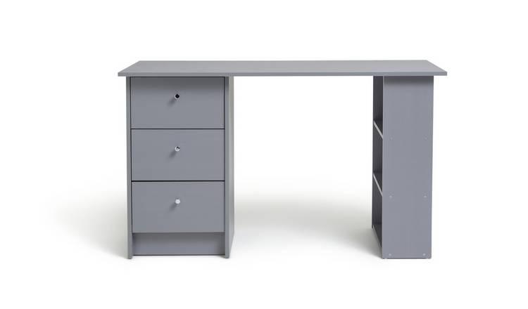 7357c72f7cf7 Buy Argos Home Malibu 3 Drawer Desk - Grey | Office desks | Argos