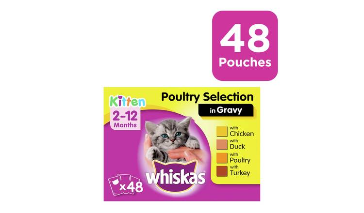 Whiskas Kitten Food Poultry Selection in Gravy 48 Pouches
