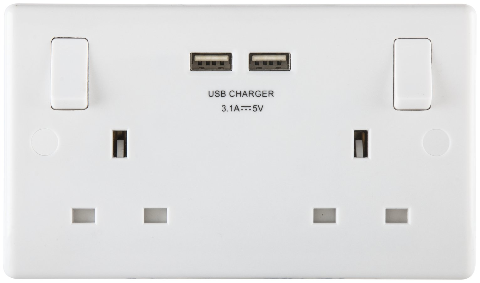 BG Nexus 2 Gang Sockets with 2 X USB 3.1 Sockets - White