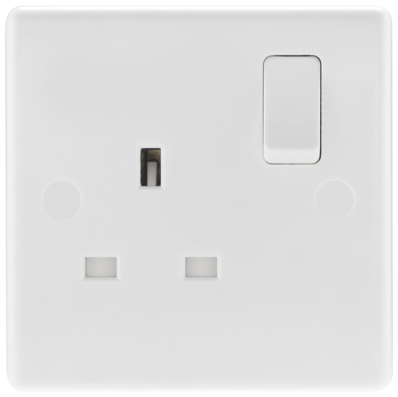 BG Single Switched Power Socket - White