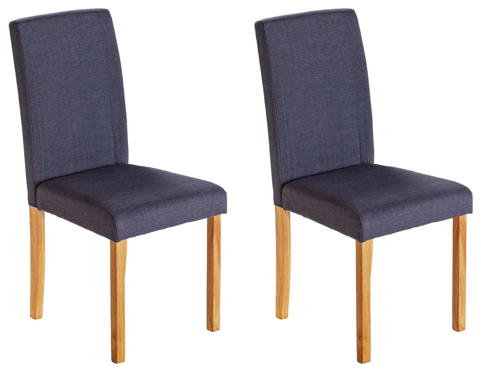 Parker Walnut Charcoal Fabric Square Back Dining Chairs Pair