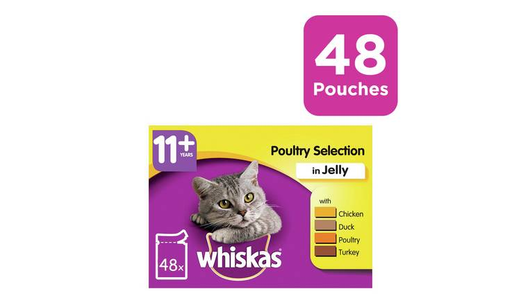 Whiskas 11+ Senior Cat Food Poultry in Jelly 48 Pouches