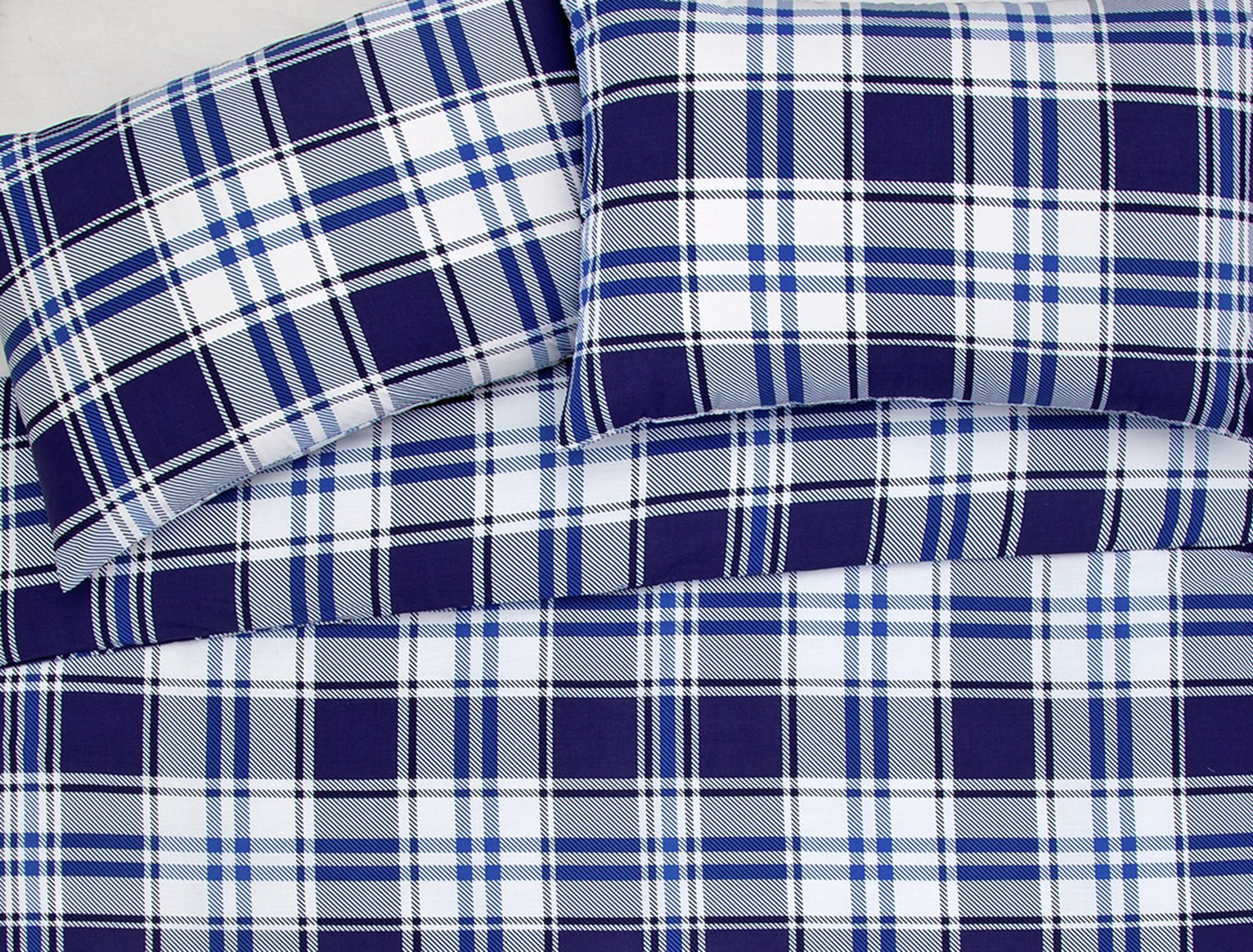 Argos Home Blue Check Bedding Set - Single