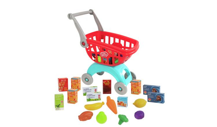 Kids Shopping Basket Role Play Grocery Supermarket Food Play Red Handle Small