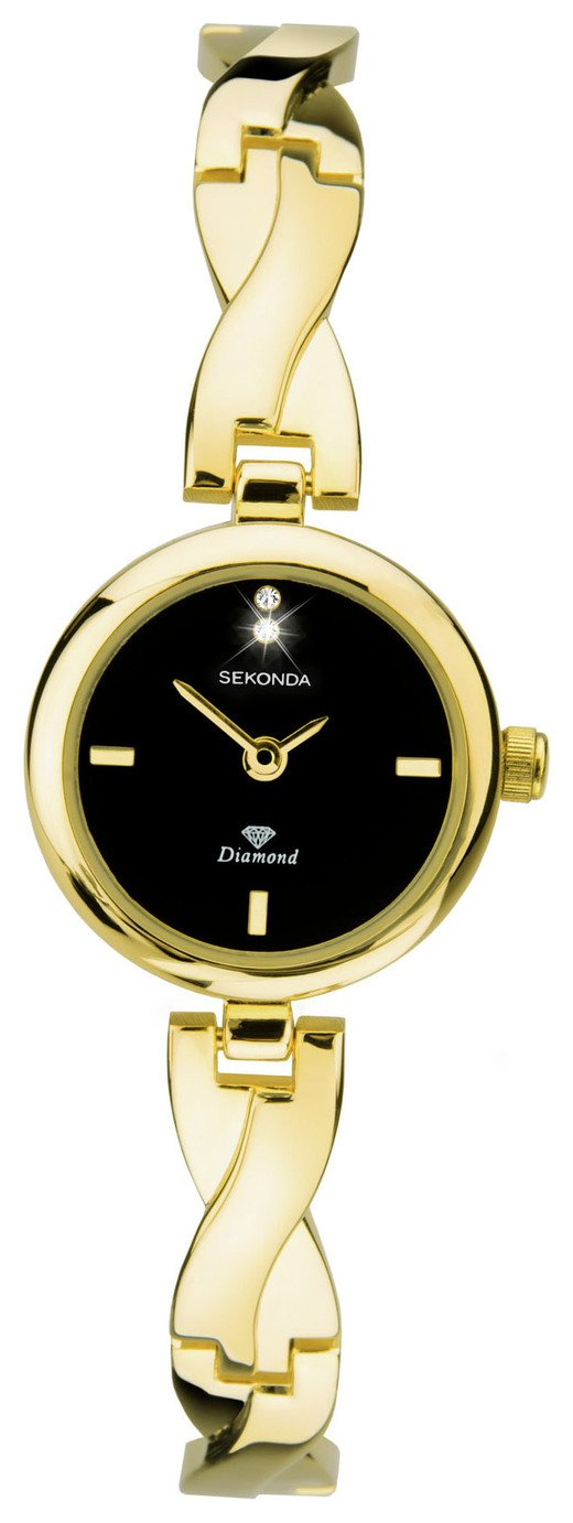 Sekonda Ladies Diamond Set Gold Plated Bangle Bracelet Watch