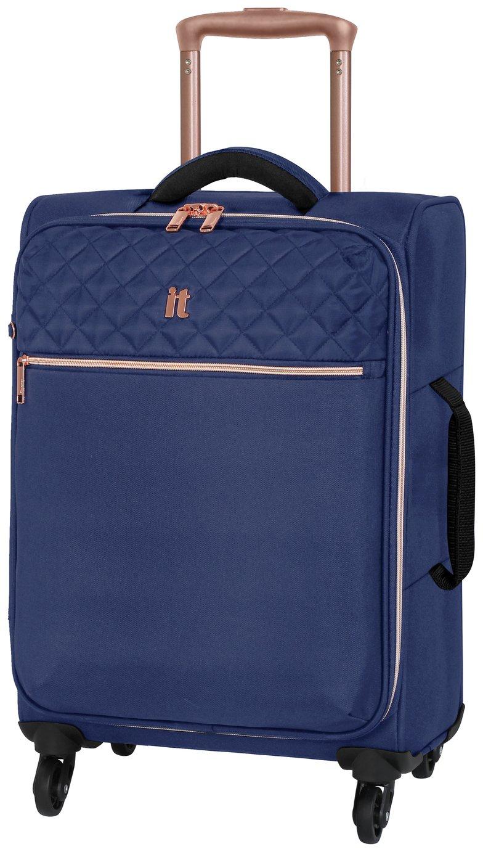 it Luggage Expandable 4 Wheel Soft Cabin Suitcase - Blue
