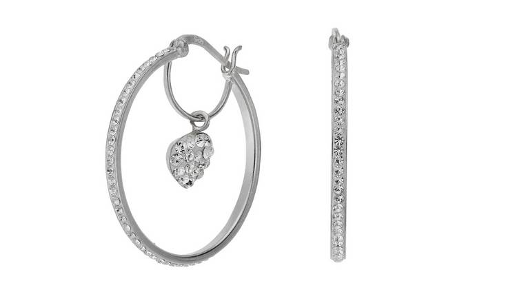 Revere Sterling Silver Crystal Heart Hoop Earrings