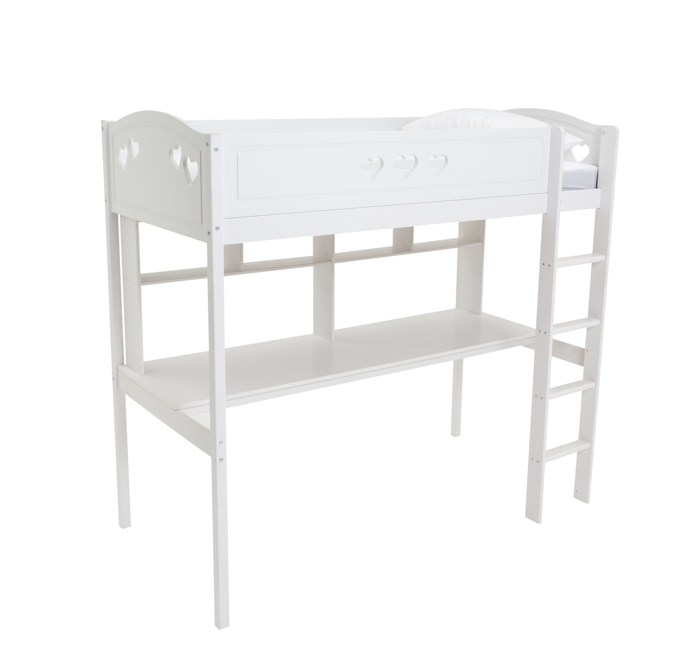 Argos Home Mia White High Sleeper, Desk & Kids Mattress