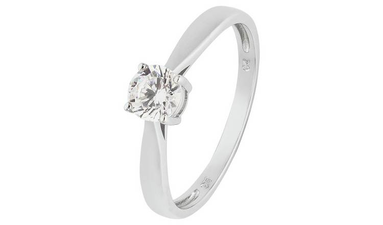 Revere 9ct White Gold 5 Carat Look Cubic Zirconia Ring - N