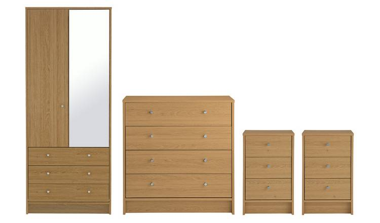 Habitat Malibu 4 Piece 2 Door Wardrobe Set - Oak Effect