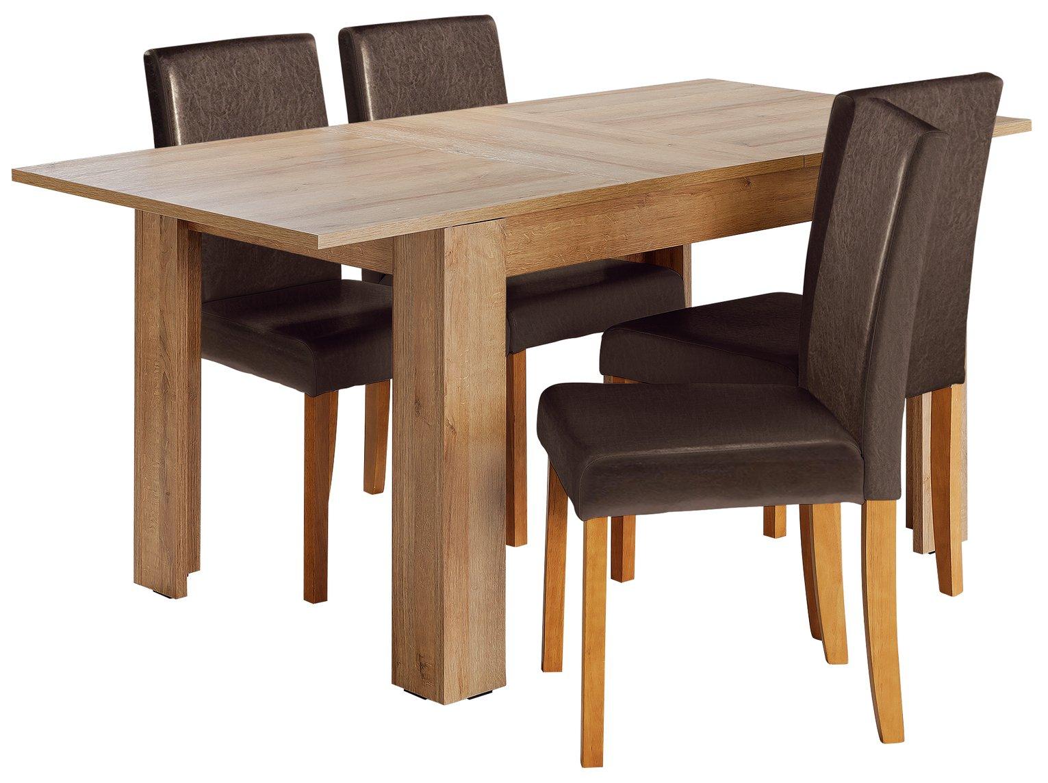 HOME Miami Extendable Oak Veneer Table & 4 Chairs - Choc