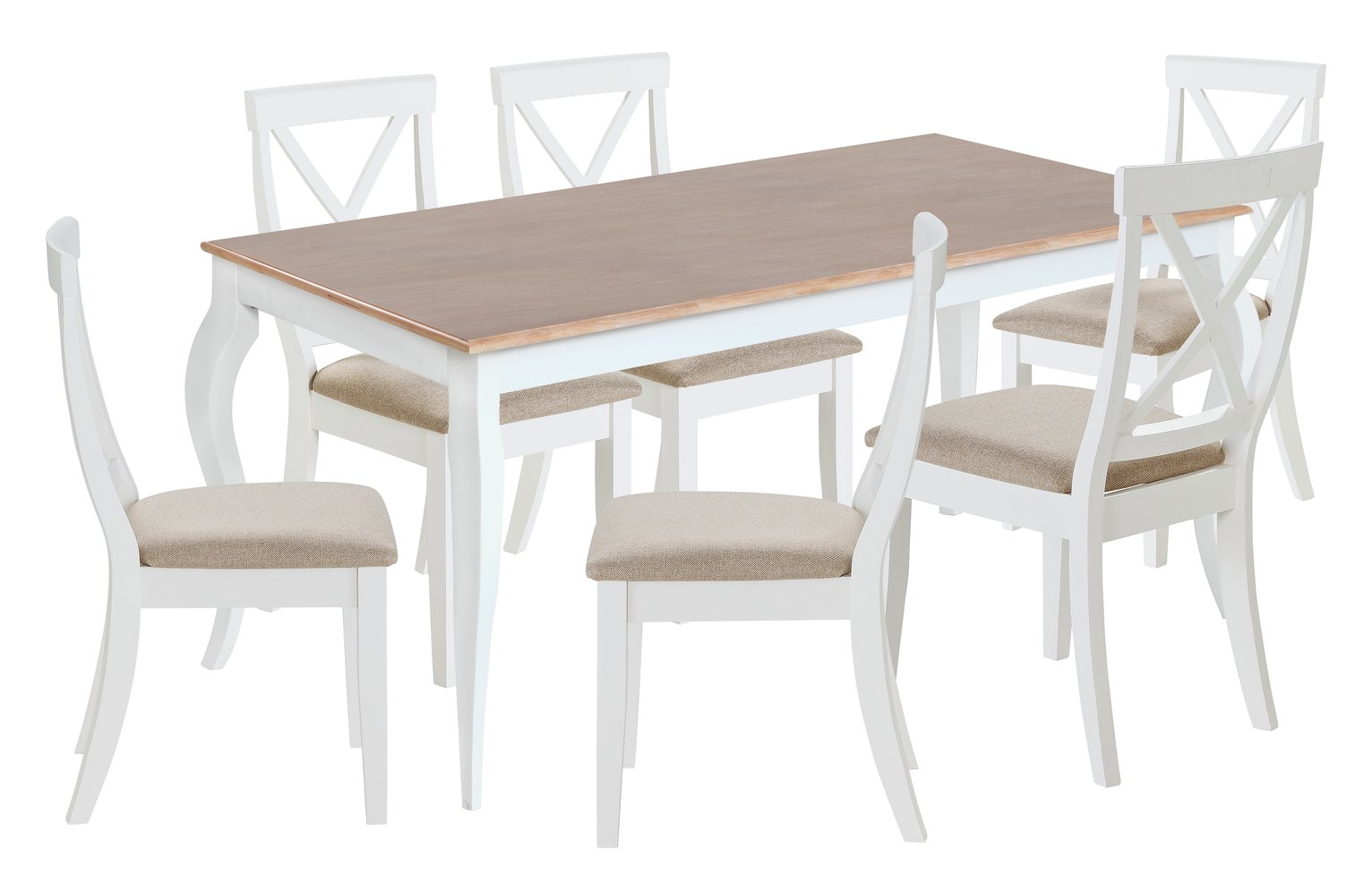 Collection Southwold Oak Veneer Table & 6 Chairs - Two Tone