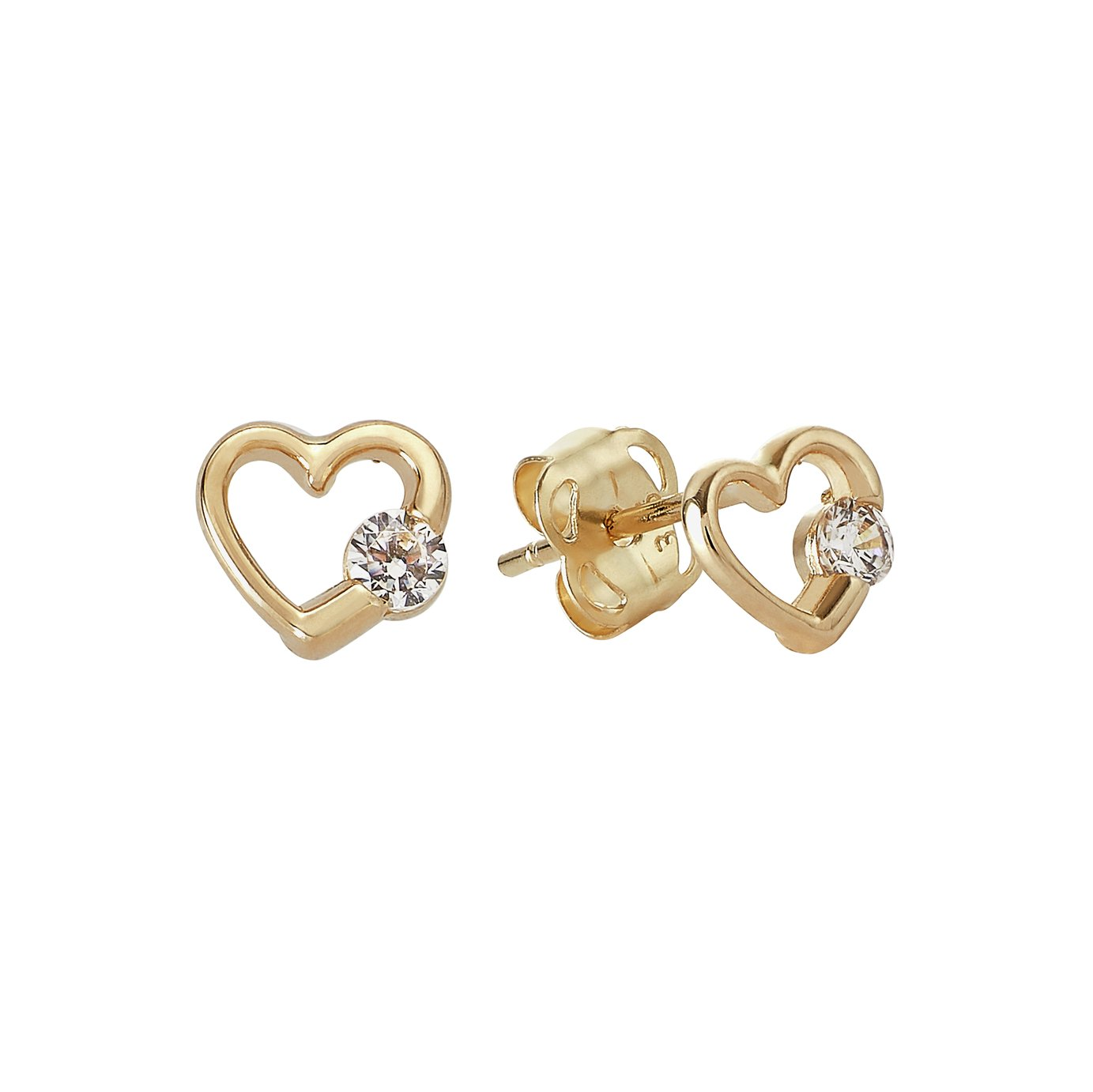 Revere Kid's 9ct Yellow Gold CZ Heart Stud Earrings