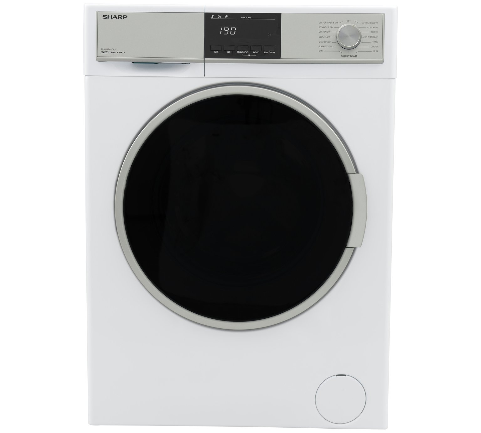 Sharp ES-HDB8647W0 8/6KG 1400 Spin Washer Dryer - White