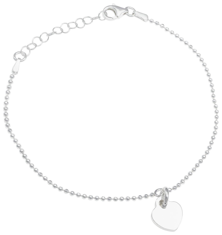Revere Sterling Silver Engravable Heart Charm Bracelet