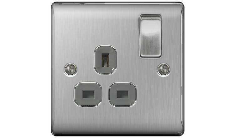 BG Single Switched Socket - Stainless Steel